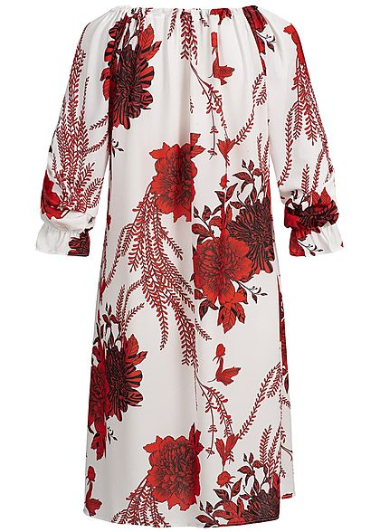 Zabaione Damen Oversized Off-Shoulder Dress Flower Print rot weiss