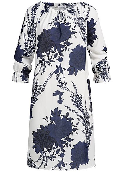 Zabaione Damen Oversized Off-Shoulder Dress Flower Print navy blau weiss