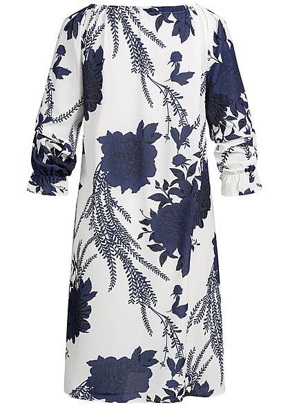 Zabaione Damen Oversized Off-Shoulder Dress Flower Print navy blau weiss