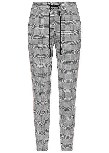 Styleboom Fashion Damen Checked Trousers Contrasting Stripes grau rosa