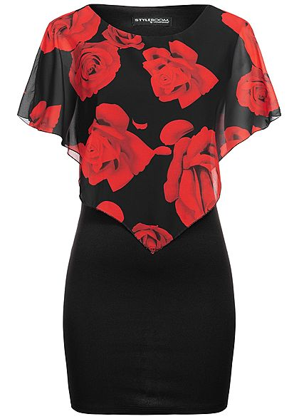 Styleboom Fashion Damen 2-Layer Dress Rose Print schwarz rot