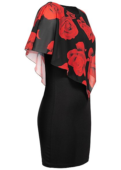 Styleboom Fashion Damen 2-Layer Dress Rose Print schwarz rot