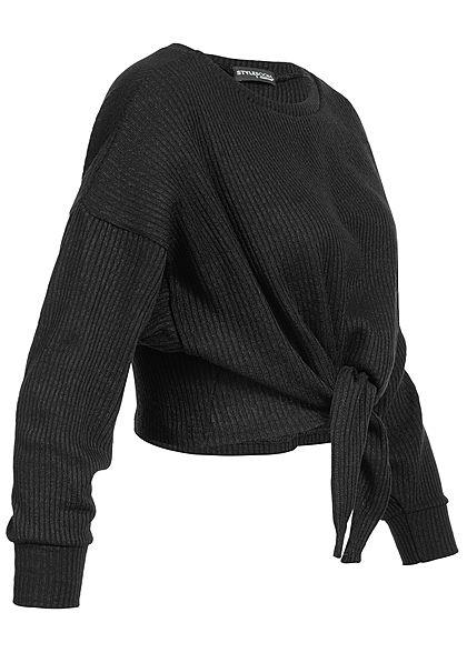 Styleboom Fashion Damen Cropped Shirt Sweater schwarz