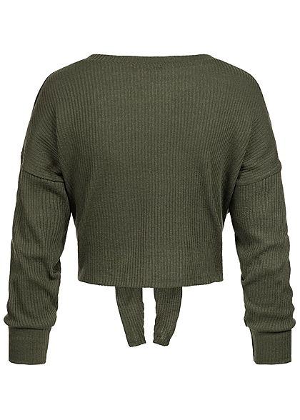 Styleboom Fashion Damen Cropped Shirt Sweater dunkel khaki