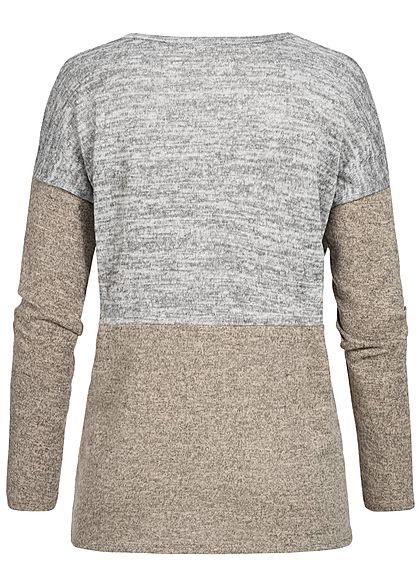 Styleboom Fashion Damen Longsleeve Pocket Colorblock hell grau beige schwarz mel