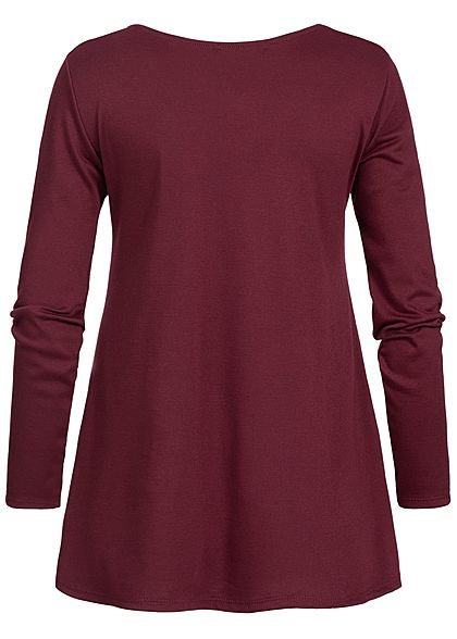 Styleboom Fashion Damen Criss Cross Longsleeve wine bordeaux rot
