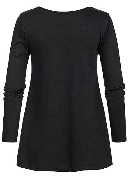 Styleboom Fashion Damen Criss Cross Longsleeve schwarz