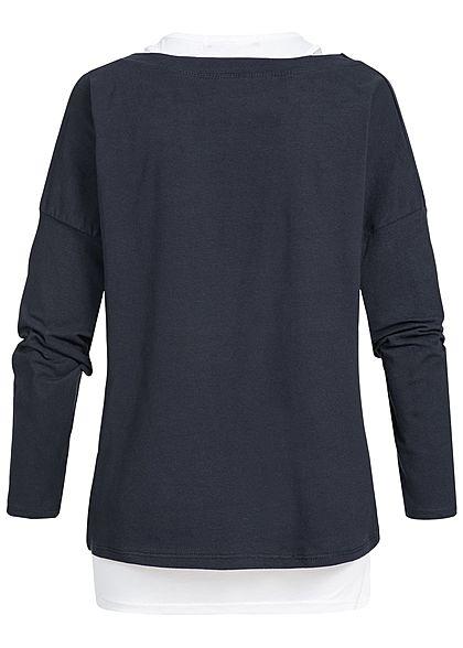Styleboom Fashion Damen 2in1 Longsleeve Shirt Love Print navy blau weiss