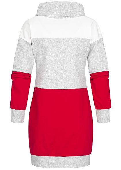 Styleboom Fashion Damen High-Neck Longform Sweater Colorblock rot weiss grau