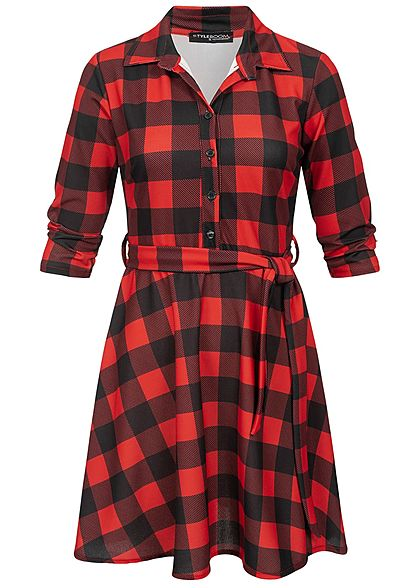 Styleboom Fashion Damen Plaid Dress V-Neck schwarz rot