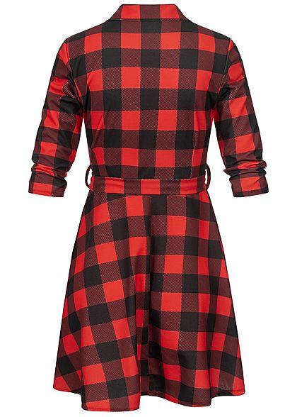 Styleboom Fashion Damen Plaid Dress V-Neck schwarz rot
