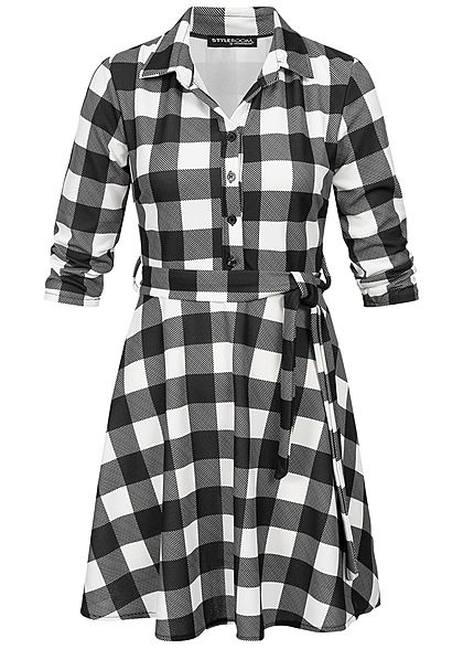 Styleboom Fashion Damen Plaid Dress V-Neck weiss schwarz