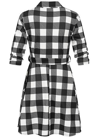 Styleboom Fashion Damen Plaid Dress V-Neck weiss schwarz