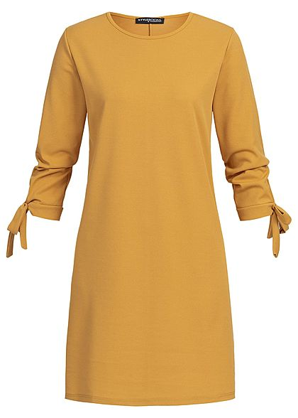 Styleboom Fashion Damen Bow Sleeve Dress mustard gelb