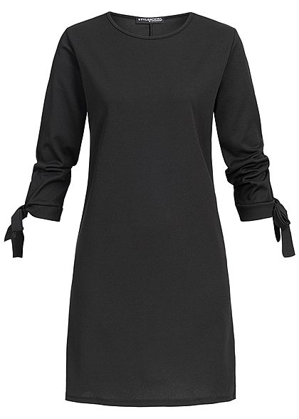 Styleboom Fashion Damen Bow Sleeve Dress schwarz