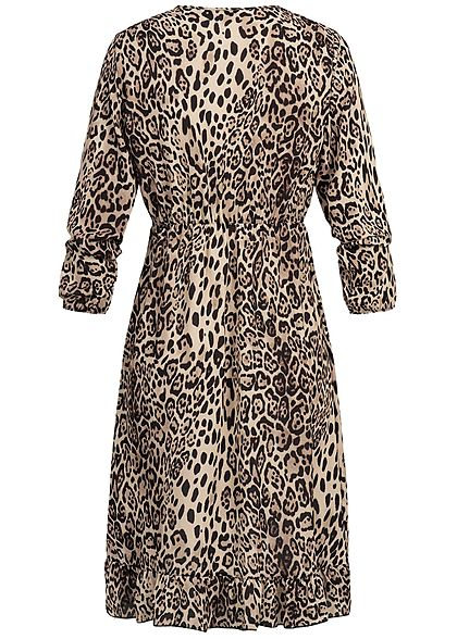 Styleboom Fashion Damen Longsleeve Dress Leopard Print beige braun schwarz