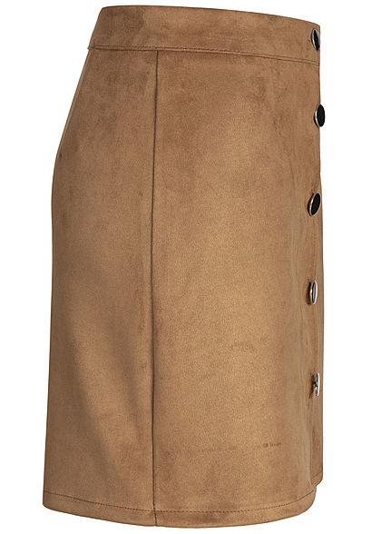 Styleboom Fashion Damen Velour Skirt Button braun