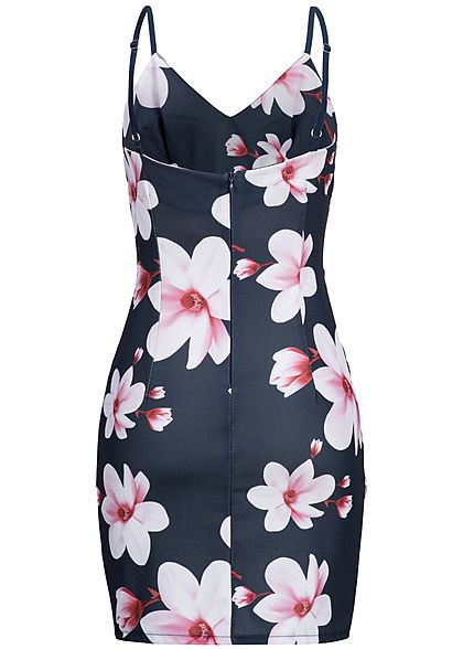 Styleboom Fashion Damen Strap Dress Flower Print navy blau rosa