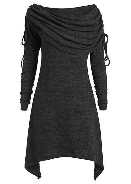 34e5474370f8dc Styleboom Fashion Damen Off-Shoulder Dress schwarz melange - 77onlineshop