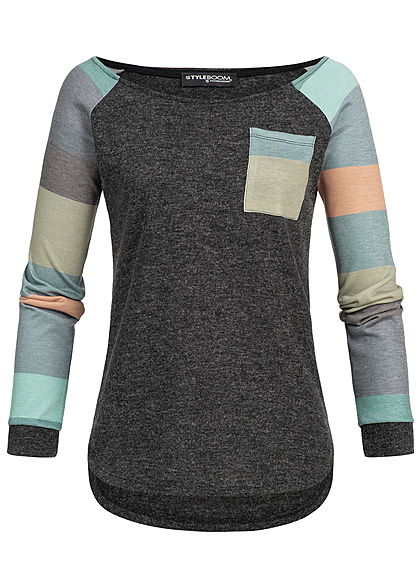 Styleboom Fashion Damen Multicolor Longsleeve Shirt Pocket dunkel grau grün
