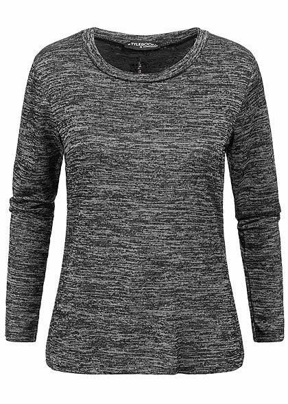 Styleboom Fashion Damen Longsleeve Lace Backzipper schwarz melange