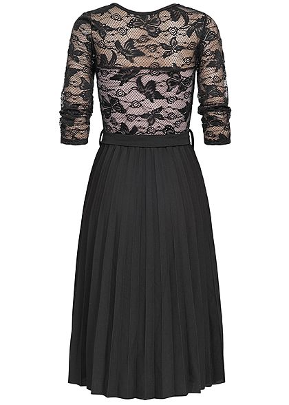 Styleboom Fashion Damen 2 Layer 3/4 Sleeve Lace Dress schwarz rosa