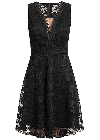 Styleboom Fashion Damen Allover Lace Dress schwarz
