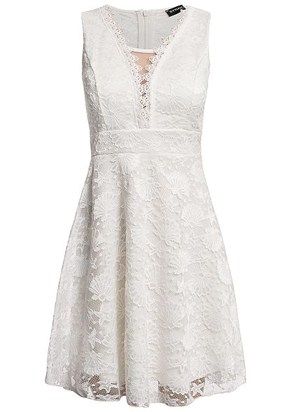 Styleboom Fashion Damen Allover Lace Dress weiss