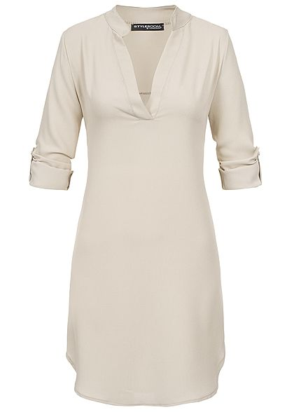 Styleboom Fashion Damen Turn-Up Dress V-Neck fango beige