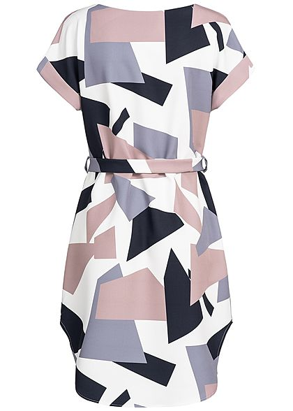 Styleboom Fashion Damen Multicolor Dress weiss lila navy rosa