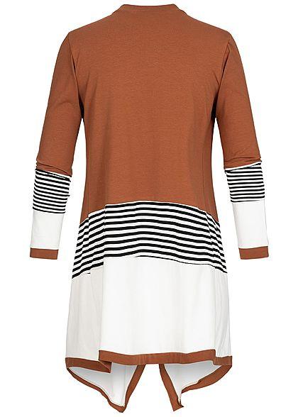 Styleboom Fashion Damen Drapped 3-Tone Stripe Cardigan caramel braun weiss schwarz