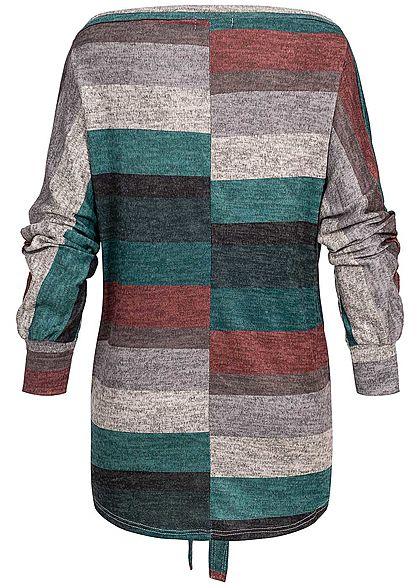 Styleboom Fashion Damen Off-Shoulder Multicolor Stripe Shirt schwarz grün rot grau