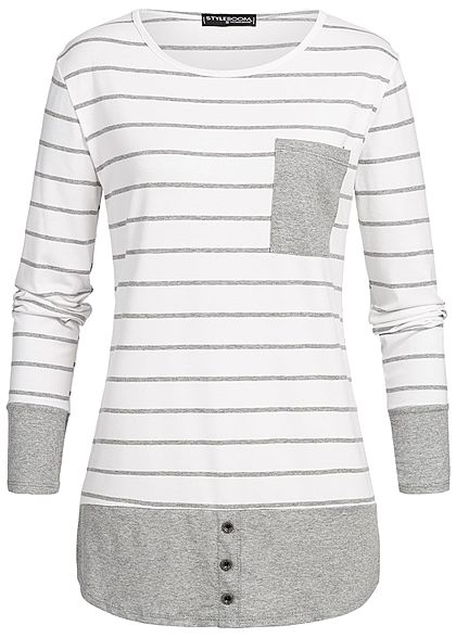 Styleboom Fashion Damen 2in1 Stripped Longsleeve weiss grau