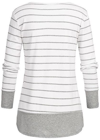 Styleboom Fashion Damen 2in1 Stripped Longsleeve weiss grau