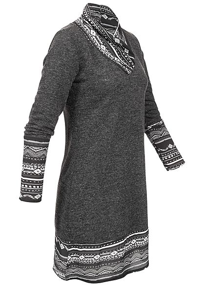 Styleboom Fashion Damen Cowl Neck Patchwork Longsleeve schwarz melange weiss