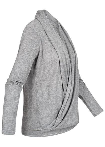 Styleboom Fashion Damen Wrapped Cardigan hell grau