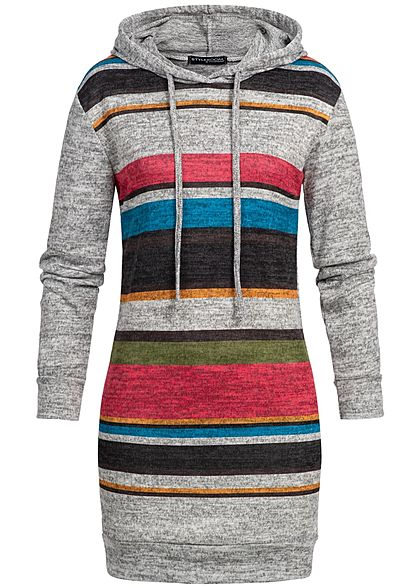 Styleboom Fashion Damen Striped Multicolor Longform Hoodie grau blau grün rot