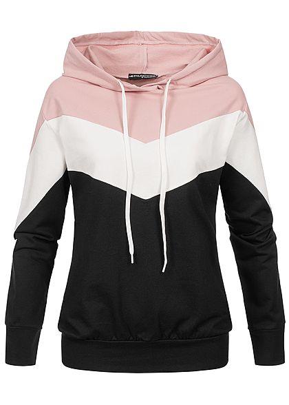 new product e8bd9 3e0d8 Styleboom Fashion Damen Arrow Colorblock Hoodie schwarz weiss rosa
