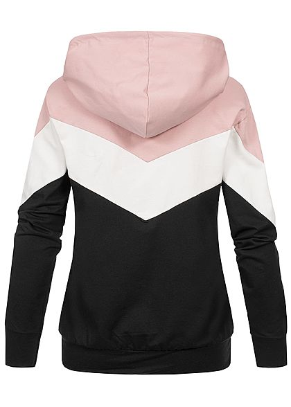 Styleboom Fashion Damen Arrow Colorblock Hoodie schwarz weiss rosa