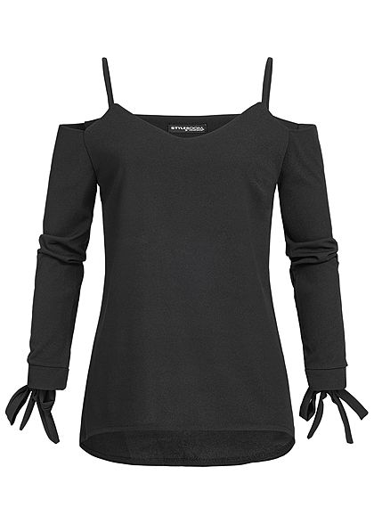 Styleboom Fashion Damen Bow Sleeve Top schwarz