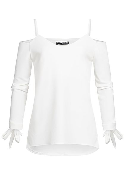 Styleboom Fashion Damen Bow Sleeve Top weiss