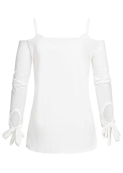 Styleboom Fashion Damen Bow Sleeve Top weiss