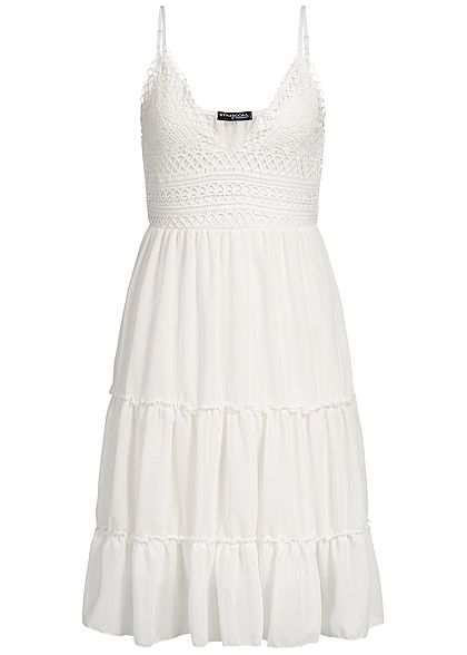 Styleboom Fashion Damen Lace Strap Dress weiss