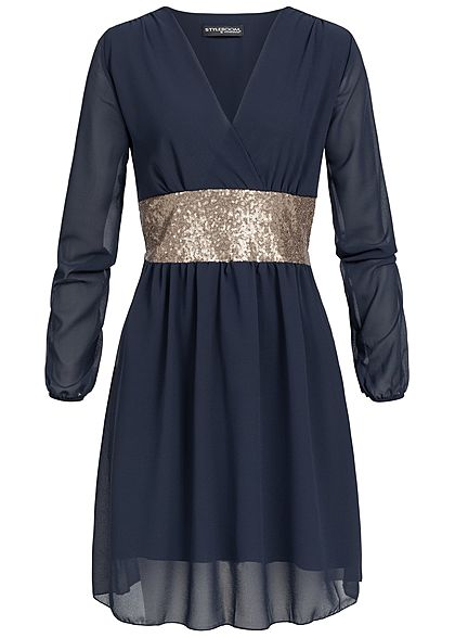 Styleboom Fashion Damen Long Sleeve Chiffon Dress navy blau