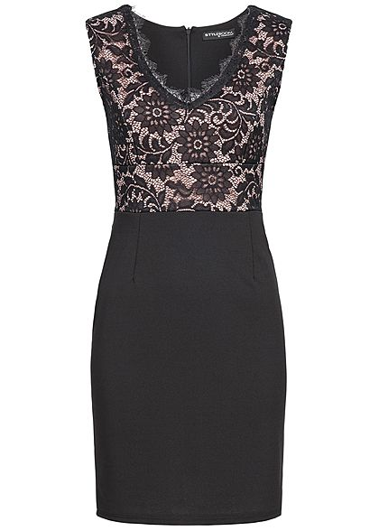 Styleboom Fashion Damen Lace Dress V-Neck schwarz rosa