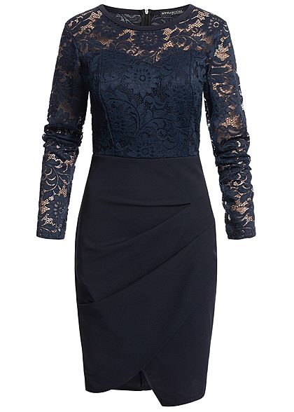Styleboom Fashion Damen Longsleeve Lace Dress navy blau