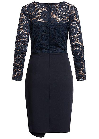 Styleboom Fashion Damen Longsleeve Lace Dress navy blau