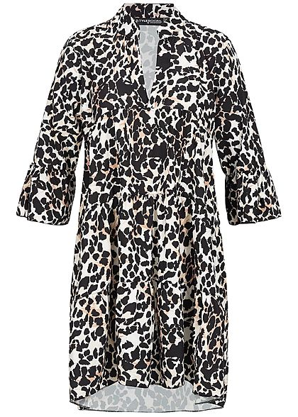 Styleboom Fashion Damen V-Neck Dress Leo Print schwarz braun