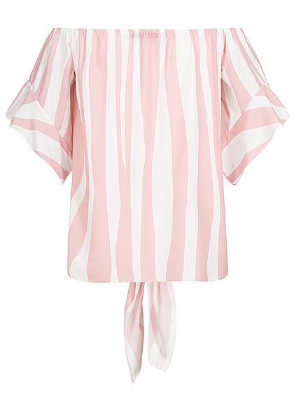 Styleboom Fashion Damen Off-Shoulder Top Streifen Bindedetail vorne rosa weiss