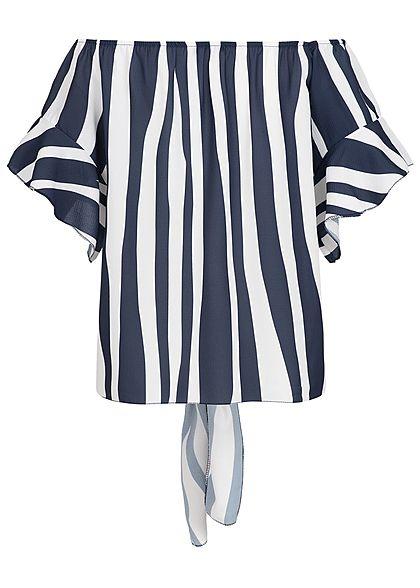 Styleboom Fashion Damen Off-Shoulder Top Streifen Bindedetail vorne navy weiss